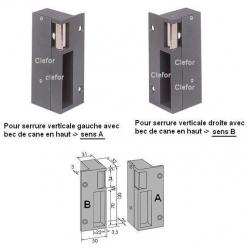 GACHE ELECTRIQUE APPLIQUE POUR SERRURE VERTICALE
