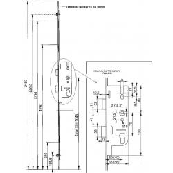CREMONE FERCO GU EUROPA R2 AXE 40 ou 50 mm lg 2150
