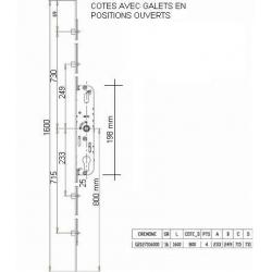CREMONE FERCO GU 4 GALETS AXE 25mm LG 1600mm