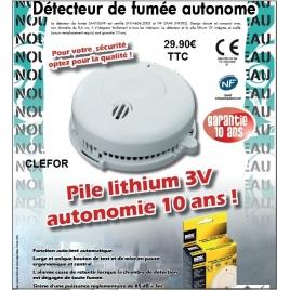 Détecteur de fumée pile lithium autonomie et garanti 10ans
