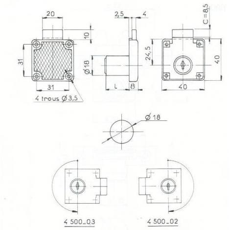 SER. A PLAQUER L40mm - 2 CLES