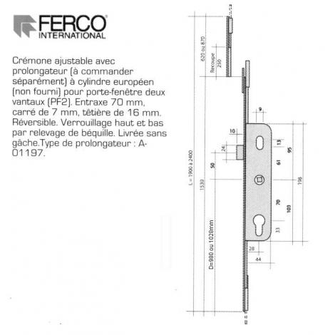 CREMONE 5.28 POINTS H+B AXE 28mm AJUST HT