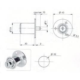 POUSSOIR ROND L30/D23mm - 2 CLES