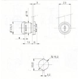 SERRURE BATTEUSE -165CHE- 2 CLES